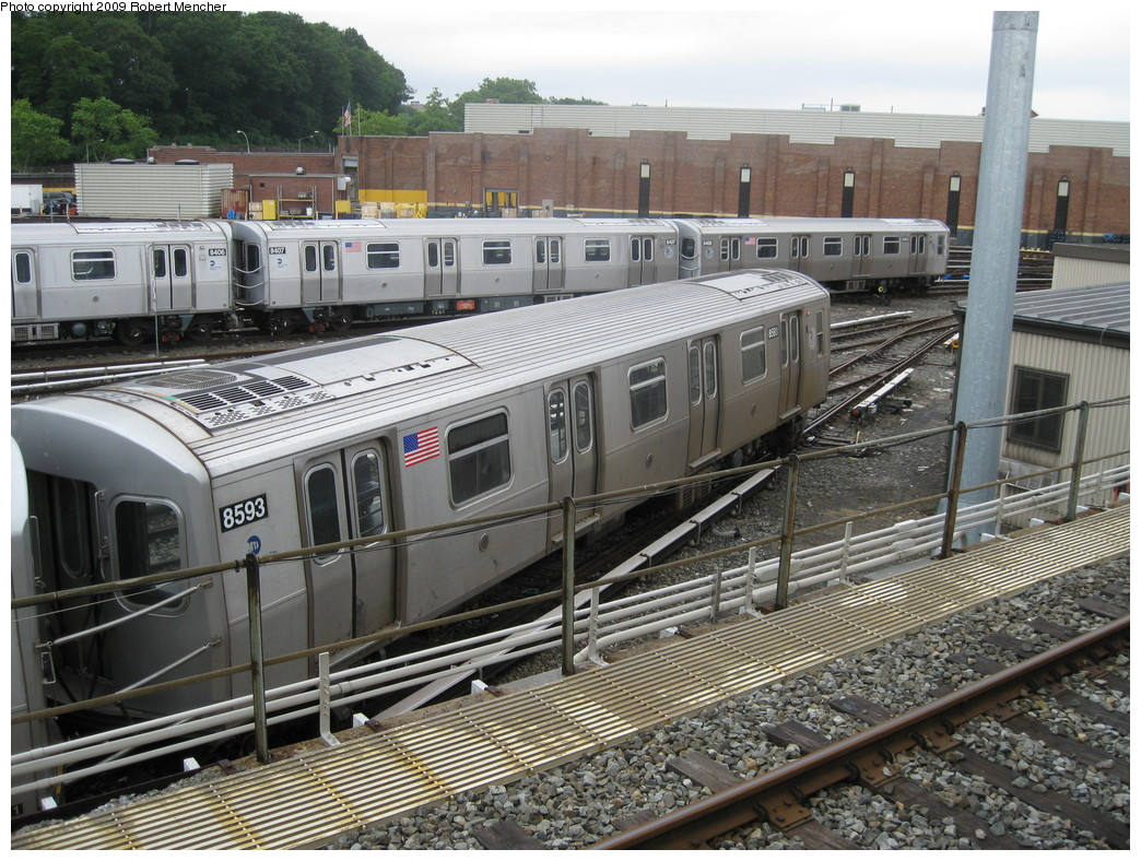 (285k, 1044x788)<br><b>Country:</b> United States<br><b>City:</b> New York<br><b>System:</b> New York City Transit<br><b>Location:</b> East New York Yard/Shops<br><b>Car:</b> R-160A-1 (Alstom, 2005-2008, 4 car sets)  8593 <br><b>Photo by:</b> Robert Mencher<br><b>Date:</b> 6/16/2009<br><b>Viewed (this week/total):</b> 2 / 1064