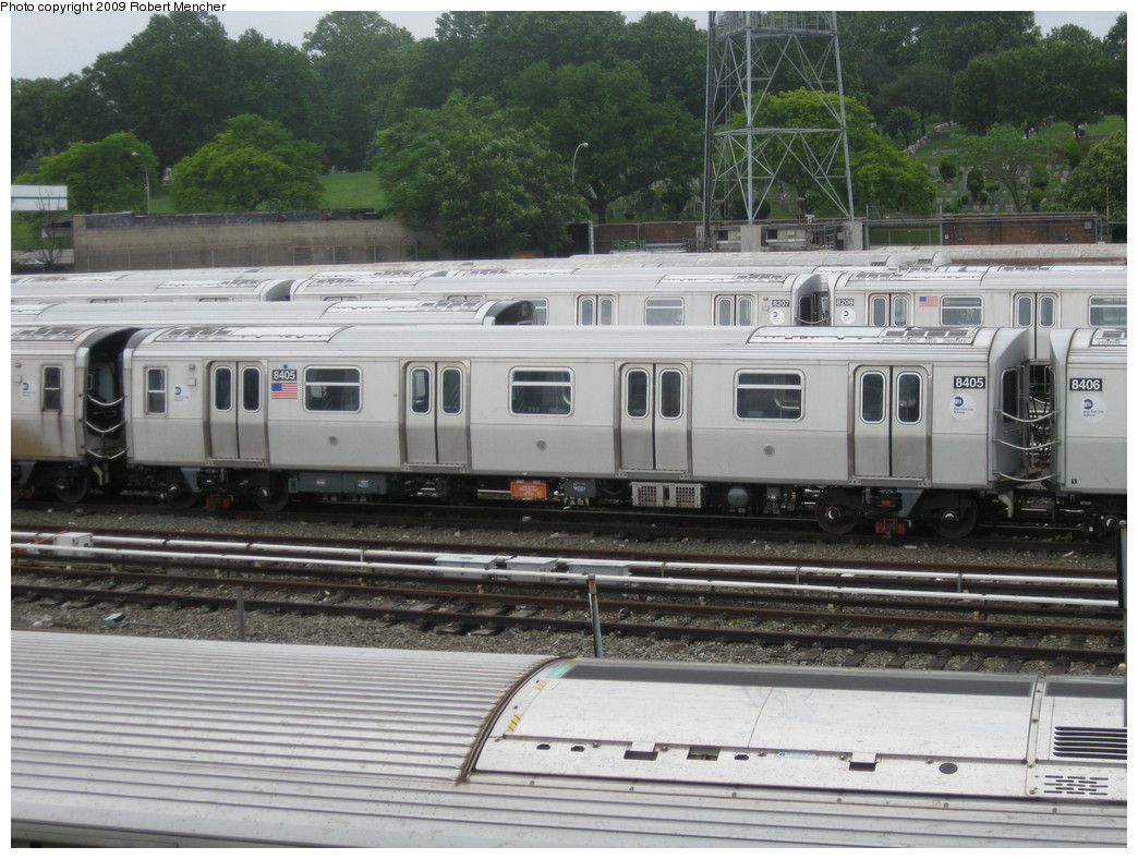 (236k, 1044x788)<br><b>Country:</b> United States<br><b>City:</b> New York<br><b>System:</b> New York City Transit<br><b>Location:</b> East New York Yard/Shops<br><b>Car:</b> R-160A-1 (Alstom, 2005-2008, 4 car sets)  8405 <br><b>Photo by:</b> Robert Mencher<br><b>Date:</b> 6/16/2009<br><b>Viewed (this week/total):</b> 3 / 737