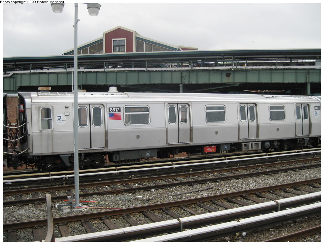 (235k, 1044x788)<br><b>Country:</b> United States<br><b>City:</b> New York<br><b>System:</b> New York City Transit<br><b>Location:</b> East New York Yard/Shops<br><b>Car:</b> R-160A-1 (Alstom, 2005-2008, 4 car sets)  8617 <br><b>Photo by:</b> Robert Mencher<br><b>Date:</b> 6/16/2009<br><b>Viewed (this week/total):</b> 0 / 810