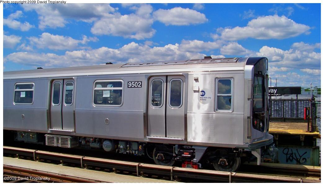 (178k, 1044x599)<br><b>Country:</b> United States<br><b>City:</b> New York<br><b>System:</b> New York City Transit<br><b>Line:</b> BMT Culver Line<br><b>Location:</b> Bay Parkway (22nd Avenue) <br><b>Route:</b> Testing<br><b>Car:</b> R-160A (Option 1) (Alstom, 2008-2009, 5 car sets)  9502 <br><b>Photo by:</b> David Tropiansky<br><b>Date:</b> 7/8/2009<br><b>Viewed (this week/total):</b> 0 / 2382