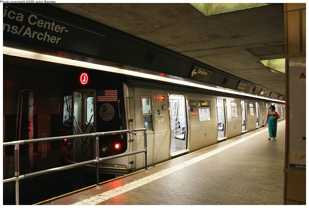 (193k, 1044x703)<br><b>Country:</b> United States<br><b>City:</b> New York<br><b>System:</b> New York City Transit<br><b>Line:</b> BMT Nassau Street/Jamaica Line<br><b>Location:</b> Jamaica Center/Parsons-Archer <br><b>Route:</b> J<br><b>Car:</b> R-160A-1 (Alstom, 2005-2008, 4 car sets)  8505 <br><b>Photo by:</b> John Barnes<br><b>Date:</b> 6/22/2009<br><b>Viewed (this week/total):</b> 4 / 1245