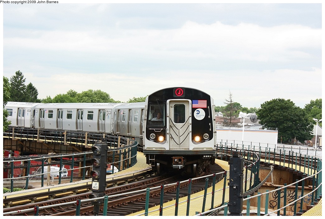 (231k, 1044x703)<br><b>Country:</b> United States<br><b>City:</b> New York<br><b>System:</b> New York City Transit<br><b>Line:</b> BMT Nassau Street/Jamaica Line<br><b>Location:</b> Cypress Hills <br><b>Route:</b> J<br><b>Car:</b> R-160A-1 (Alstom, 2005-2008, 4 car sets)  8384 <br><b>Photo by:</b> John Barnes<br><b>Date:</b> 6/22/2009<br><b>Viewed (this week/total):</b> 0 / 1394