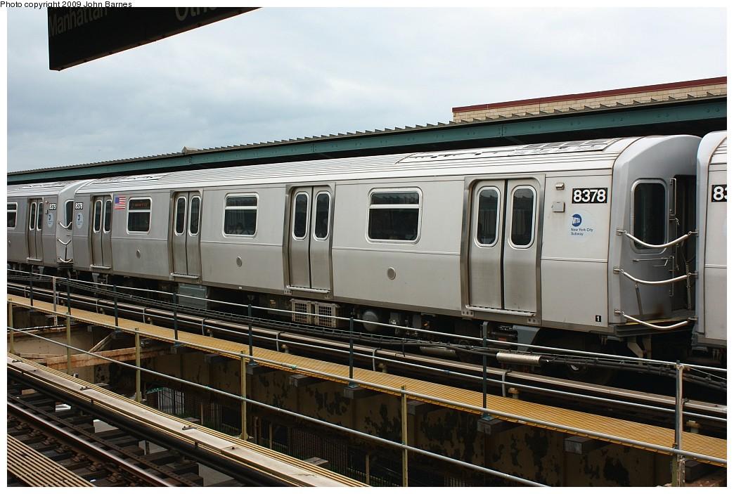 (209k, 1044x703)<br><b>Country:</b> United States<br><b>City:</b> New York<br><b>System:</b> New York City Transit<br><b>Line:</b> BMT Nassau Street/Jamaica Line<br><b>Location:</b> Cypress Hills <br><b>Route:</b> J<br><b>Car:</b> R-160A-1 (Alstom, 2005-2008, 4 car sets)  8378 <br><b>Photo by:</b> John Barnes<br><b>Date:</b> 6/22/2009<br><b>Viewed (this week/total):</b> 0 / 962