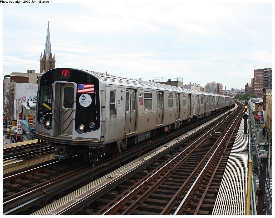 (251k, 1044x827)<br><b>Country:</b> United States<br><b>City:</b> New York<br><b>System:</b> New York City Transit<br><b>Line:</b> BMT Nassau Street/Jamaica Line<br><b>Location:</b> Flushing Avenue <br><b>Route:</b> J<br><b>Car:</b> R-160A-1 (Alstom, 2005-2008, 4 car sets)  8521 <br><b>Photo by:</b> John Barnes<br><b>Date:</b> 6/22/2009<br><b>Viewed (this week/total):</b> 0 / 1178