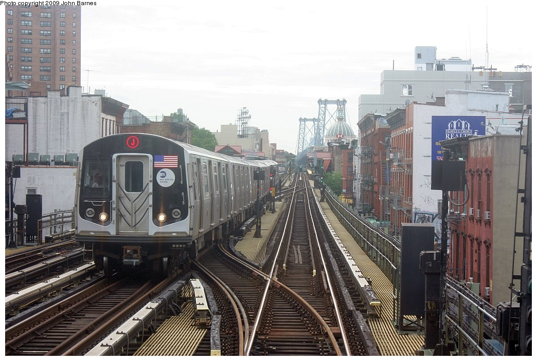 (230k, 1044x703)<br><b>Country:</b> United States<br><b>City:</b> New York<br><b>System:</b> New York City Transit<br><b>Line:</b> BMT Nassau Street/Jamaica Line<br><b>Location:</b> Hewes Street <br><b>Route:</b> J<br><b>Car:</b> R-160A-1 (Alstom, 2005-2008, 4 car sets)   <br><b>Photo by:</b> John Barnes<br><b>Date:</b> 6/22/2009<br><b>Viewed (this week/total):</b> 0 / 1232