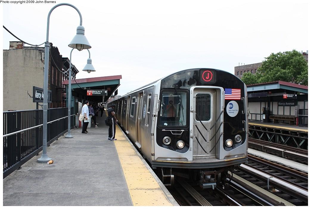 (204k, 1044x703)<br><b>Country:</b> United States<br><b>City:</b> New York<br><b>System:</b> New York City Transit<br><b>Line:</b> BMT Nassau Street/Jamaica Line<br><b>Location:</b> Marcy Avenue <br><b>Route:</b> J<br><b>Car:</b> R-160A-1 (Alstom, 2005-2008, 4 car sets)  8624 <br><b>Photo by:</b> John Barnes<br><b>Date:</b> 6/22/2009<br><b>Viewed (this week/total):</b> 1 / 1021