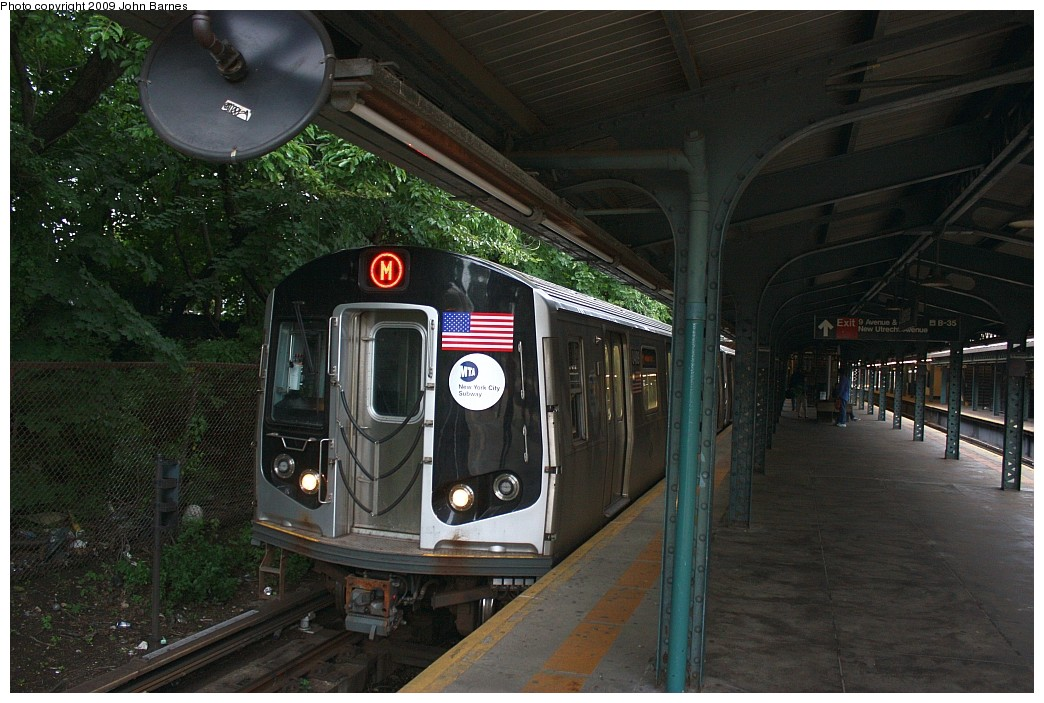 (212k, 1044x703)<br><b>Country:</b> United States<br><b>City:</b> New York<br><b>System:</b> New York City Transit<br><b>Line:</b> BMT West End Line<br><b>Location:</b> 9th Avenue <br><b>Route:</b> M<br><b>Car:</b> R-160A-1 (Alstom, 2005-2008, 4 car sets)  8489 <br><b>Photo by:</b> John Barnes<br><b>Date:</b> 6/22/2009<br><b>Viewed (this week/total):</b> 2 / 1372