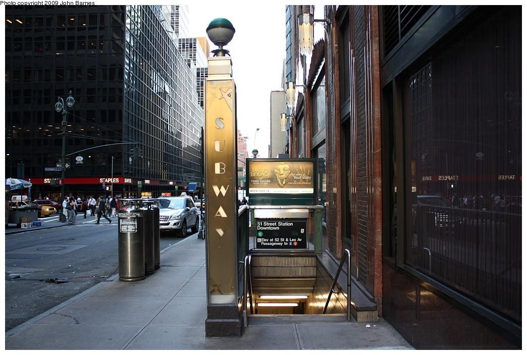 (226k, 1044x703)<br><b>Country:</b> United States<br><b>City:</b> New York<br><b>System:</b> New York City Transit<br><b>Line:</b> IRT East Side Line<br><b>Location:</b> 51st Street <br><b>Photo by:</b> John Barnes<br><b>Date:</b> 6/29/2009<br><b>Notes:</b> Station entrance.<br><b>Viewed (this week/total):</b> 2 / 1936