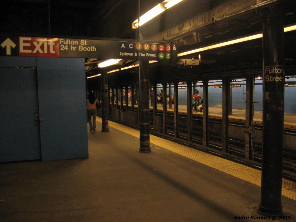 (183k, 1024x768)<br><b>Country:</b> United States<br><b>City:</b> New York<br><b>System:</b> New York City Transit<br><b>Line:</b> IRT East Side Line<br><b>Location:</b> Fulton Street <br><b>Photo by:</b> Andre Samuel<br><b>Date:</b> 5/25/2009<br><b>Viewed (this week/total):</b> 3 / 1778