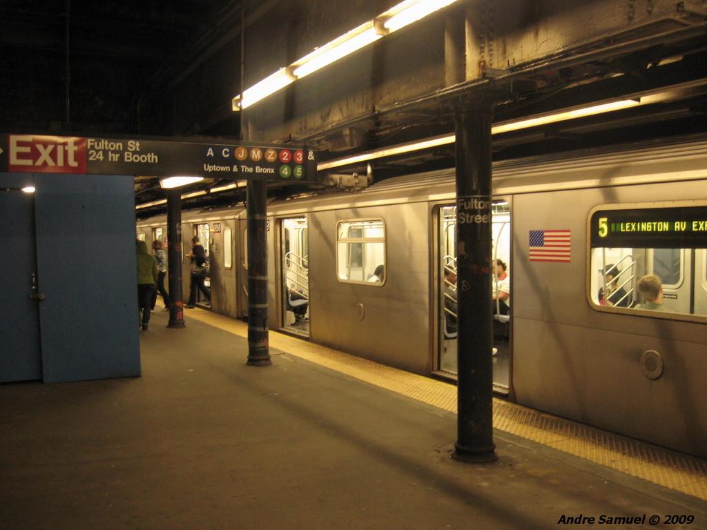 (200k, 1024x768)<br><b>Country:</b> United States<br><b>City:</b> New York<br><b>System:</b> New York City Transit<br><b>Line:</b> IRT East Side Line<br><b>Location:</b> Fulton Street <br><b>Photo by:</b> Andre Samuel<br><b>Date:</b> 5/25/2009<br><b>Viewed (this week/total):</b> 3 / 2058