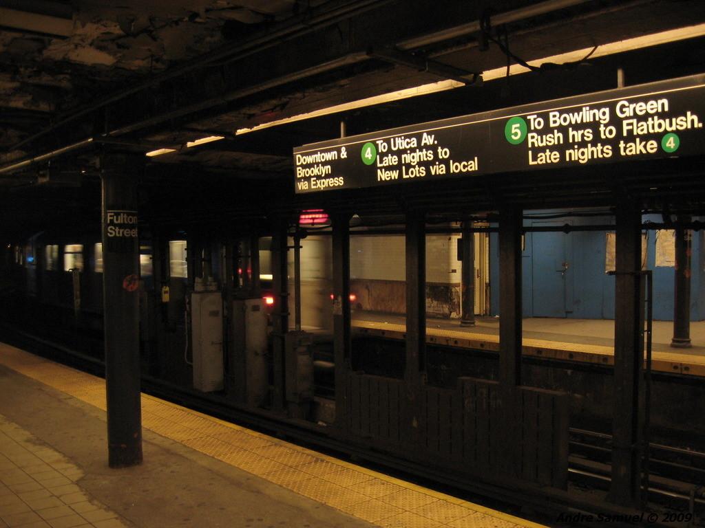 (203k, 1024x768)<br><b>Country:</b> United States<br><b>City:</b> New York<br><b>System:</b> New York City Transit<br><b>Line:</b> IRT East Side Line<br><b>Location:</b> Fulton Street <br><b>Photo by:</b> Andre Samuel<br><b>Date:</b> 5/25/2009<br><b>Viewed (this week/total):</b> 0 / 2142