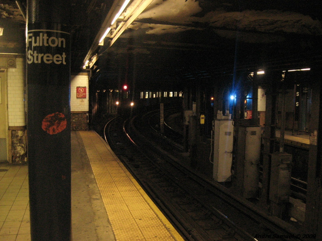 (241k, 1024x768)<br><b>Country:</b> United States<br><b>City:</b> New York<br><b>System:</b> New York City Transit<br><b>Line:</b> IRT East Side Line<br><b>Location:</b> Fulton Street <br><b>Photo by:</b> Andre Samuel<br><b>Date:</b> 5/25/2009<br><b>Viewed (this week/total):</b> 0 / 2642