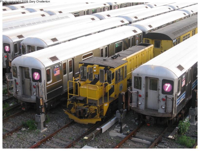 (144k, 820x620)<br><b>Country:</b> United States<br><b>City:</b> New York<br><b>System:</b> New York City Transit<br><b>Location:</b> Corona Yard<br><b>Car:</b> R-52 Locomotive  72 <br><b>Photo by:</b> Gary Chatterton<br><b>Date:</b> 7/3/2009<br><b>Viewed (this week/total):</b> 0 / 743