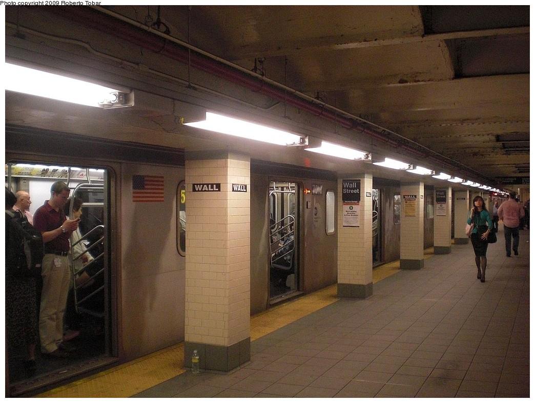 (256k, 1044x788)<br><b>Country:</b> United States<br><b>City:</b> New York<br><b>System:</b> New York City Transit<br><b>Line:</b> IRT East Side Line<br><b>Location:</b> Wall Street <br><b>Photo by:</b> Roberto C. Tobar<br><b>Date:</b> 7/10/2009<br><b>Notes:</b> New column tile.<br><b>Viewed (this week/total):</b> 3 / 1772