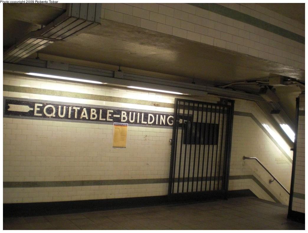 (207k, 1044x788)<br><b>Country:</b> United States<br><b>City:</b> New York<br><b>System:</b> New York City Transit<br><b>Line:</b> IRT East Side Line<br><b>Location:</b> Wall Street <br><b>Photo by:</b> Roberto C. Tobar<br><b>Date:</b> 7/10/2009<br><b>Notes:</b> Equitable building directional mosaic.<br><b>Viewed (this week/total):</b> 1 / 1166