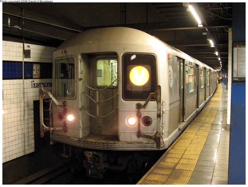 (228k, 1044x788)<br><b>Country:</b> United States<br><b>City:</b> New York<br><b>System:</b> New York City Transit<br><b>Line:</b> IND 6th Avenue Line<br><b>Location:</b> Broadway/Lafayette <br><b>Route:</b> V<br><b>Car:</b> R-40M (St. Louis, 1969)  4540 <br><b>Photo by:</b> David of Broadway<br><b>Date:</b> 7/13/2009<br><b>Viewed (this week/total):</b> 2 / 1490