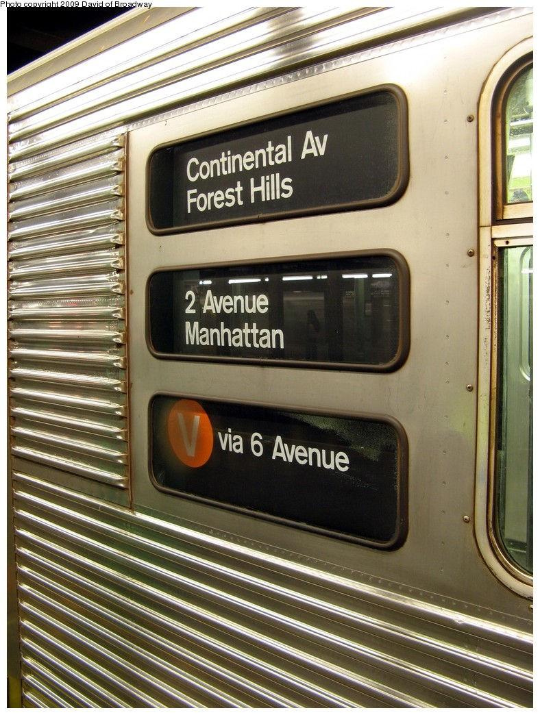 (247k, 788x1044)<br><b>Country:</b> United States<br><b>City:</b> New York<br><b>System:</b> New York City Transit<br><b>Line:</b> IND Queens Boulevard Line<br><b>Location:</b> 71st/Continental Aves./Forest Hills <br><b>Route:</b> V<br><b>Car:</b> R-32 (Budd, 1964)  3445 <br><b>Photo by:</b> David of Broadway<br><b>Date:</b> 7/13/2009<br><b>Viewed (this week/total):</b> 1 / 1889