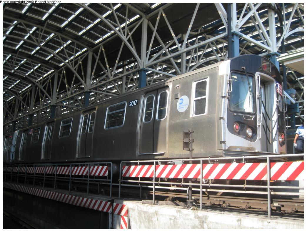 (281k, 1044x788)<br><b>Country:</b> United States<br><b>City:</b> New York<br><b>System:</b> New York City Transit<br><b>Location:</b> Coney Island/Stillwell Avenue<br><b>Route:</b> Q<br><b>Car:</b> R-160B (Option 1) (Kawasaki, 2008-2009)  9017 <br><b>Photo by:</b> Robert Mencher<br><b>Date:</b> 7/18/2009<br><b>Viewed (this week/total):</b> 1 / 1165