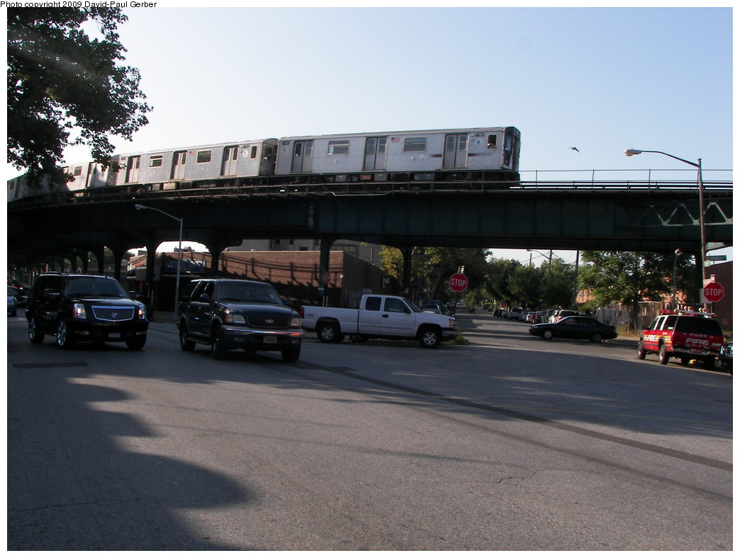 (254k, 1044x788)<br><b>Country:</b> United States<br><b>City:</b> New York<br><b>System:</b> New York City Transit<br><b>Line:</b> IRT Brooklyn Line<br><b>Location:</b> Saratoga Avenue <br><b>Route:</b> 4<br><b>Car:</b> R-142 (Option Order, Bombardier, 2002-2003)  7161 <br><b>Photo by:</b> David-Paul Gerber<br><b>Date:</b> 7/10/2009<br><b>Notes:</b> 4 train rush hour extra to New Lots. Corner of E.98th & Livonia. Nearest Station - Saratoga, 1 block east.<br><b>Viewed (this week/total):</b> 1 / 1899
