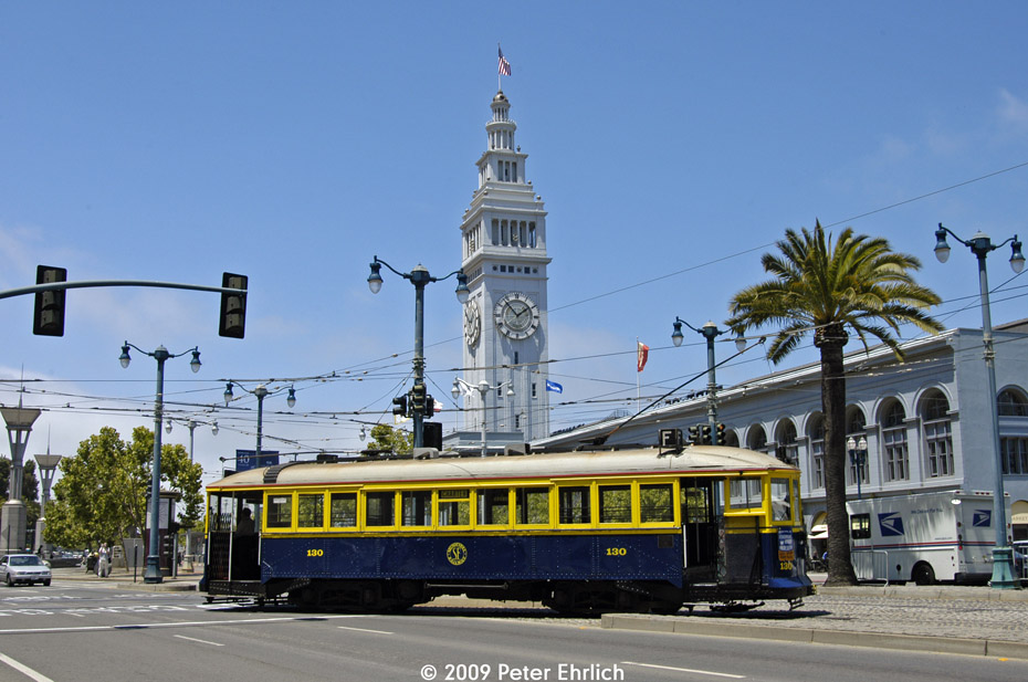 (197k, 930x617)<br><b>Country:</b> United States<br><b>City:</b> San Francisco/Bay Area, CA<br><b>System:</b> SF MUNI<br><b>Location:</b> Embarcadero/Don Chee Way <br><b>Car:</b> SF MUNI B-Type (Jewett Car Co, 1914)  130 <br><b>Photo by:</b> Peter Ehrlich<br><b>Date:</b> 6/30/2009<br><b>Notes:</b> Inbound, heading onto Don Chee Way from the southbound track for an inbound trip.<br><b>Viewed (this week/total):</b> 0 / 412
