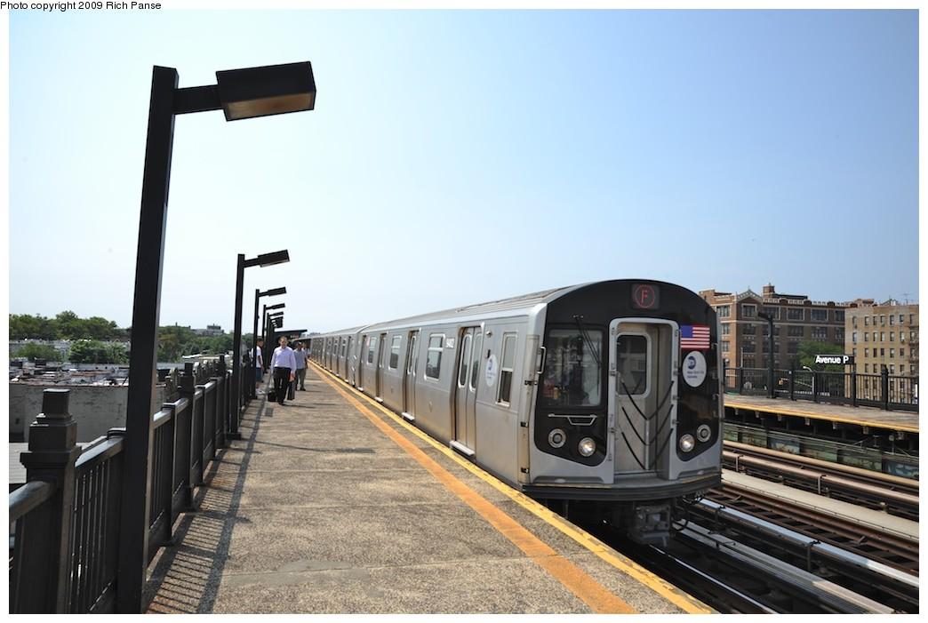 (158k, 1044x701)<br><b>Country:</b> United States<br><b>City:</b> New York<br><b>System:</b> New York City Transit<br><b>Line:</b> BMT Culver Line<br><b>Location:</b> Avenue P <br><b>Route:</b> F<br><b>Car:</b> R-160A (Option 1) (Alstom, 2008-2009, 5 car sets)   <br><b>Photo by:</b> Richard Panse<br><b>Date:</b> 7/22/2009<br><b>Viewed (this week/total):</b> 1 / 733