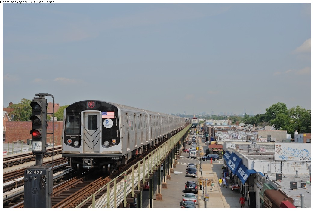(156k, 1044x702)<br><b>Country:</b> United States<br><b>City:</b> New York<br><b>System:</b> New York City Transit<br><b>Line:</b> BMT Culver Line<br><b>Location:</b> Avenue P <br><b>Route:</b> F<br><b>Car:</b> R-160A (Option 1) (Alstom, 2008-2009, 5 car sets)   <br><b>Photo by:</b> Richard Panse<br><b>Date:</b> 7/22/2009<br><b>Viewed (this week/total):</b> 1 / 1197
