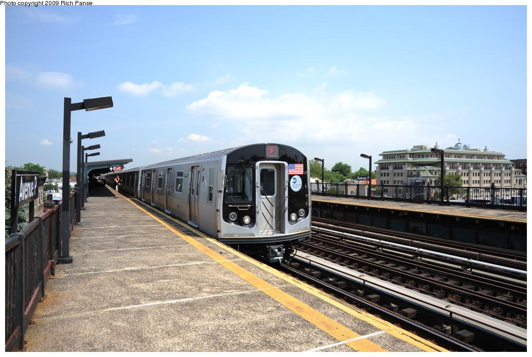 (272k, 1044x701)<br><b>Country:</b> United States<br><b>City:</b> New York<br><b>System:</b> New York City Transit<br><b>Line:</b> BMT Culver Line<br><b>Location:</b> Avenue P <br><b>Route:</b> F<br><b>Car:</b> R-160A (Option 1) (Alstom, 2008-2009, 5 car sets)   <br><b>Photo by:</b> Richard Panse<br><b>Date:</b> 7/22/2009<br><b>Viewed (this week/total):</b> 6 / 892