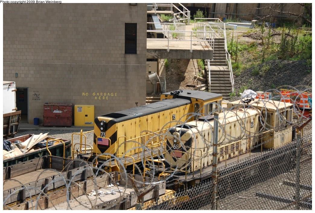 (332k, 1044x708)<br><b>Country:</b> United States<br><b>City:</b> New York<br><b>System:</b> New York City Transit<br><b>Location:</b> 207th Street Yard<br><b>Car:</b> R-52 Locomotive  73 <br><b>Photo by:</b> Brian Weinberg<br><b>Date:</b> 7/30/2009<br><b>Notes:</b> With R47 Locomotive 68<br><b>Viewed (this week/total):</b> 4 / 841