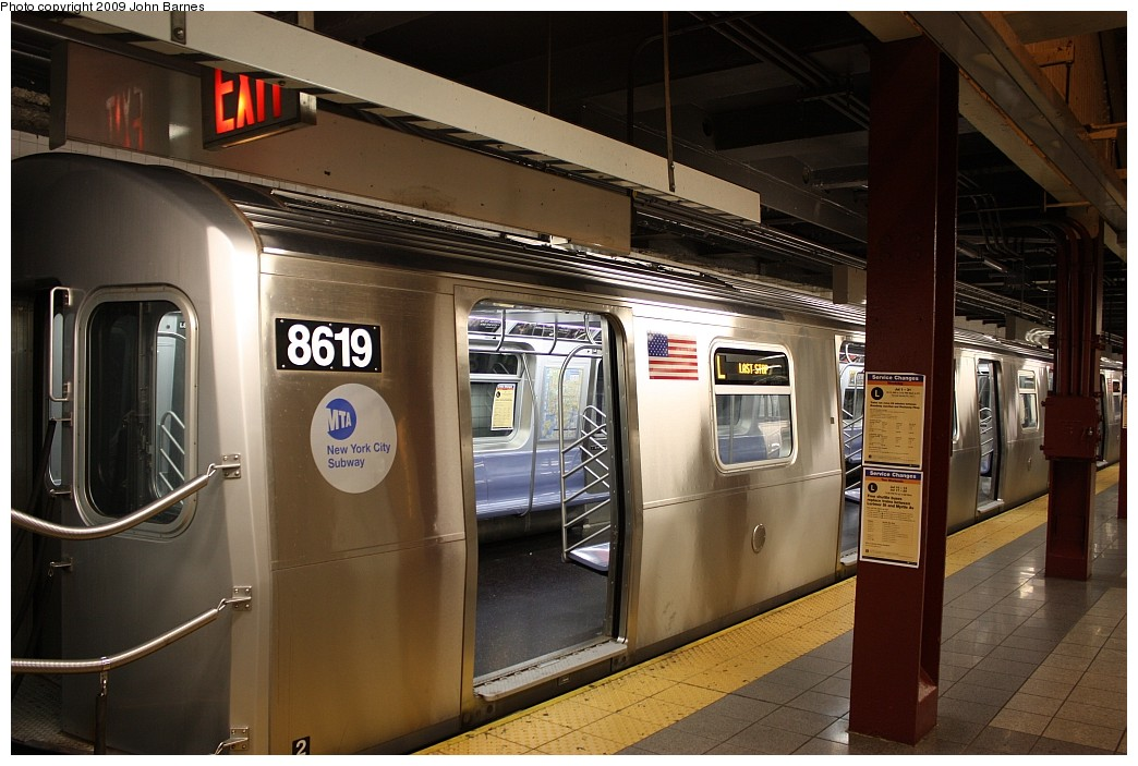(199k, 1044x703)<br><b>Country:</b> United States<br><b>City:</b> New York<br><b>System:</b> New York City Transit<br><b>Line:</b> BMT Canarsie Line<br><b>Location:</b> 8th Avenue <br><b>Route:</b> L<br><b>Car:</b> R-160A-1 (Alstom, 2005-2008, 4 car sets)  8619 <br><b>Photo by:</b> John Barnes<br><b>Date:</b> 7/10/2009<br><b>Viewed (this week/total):</b> 0 / 1445