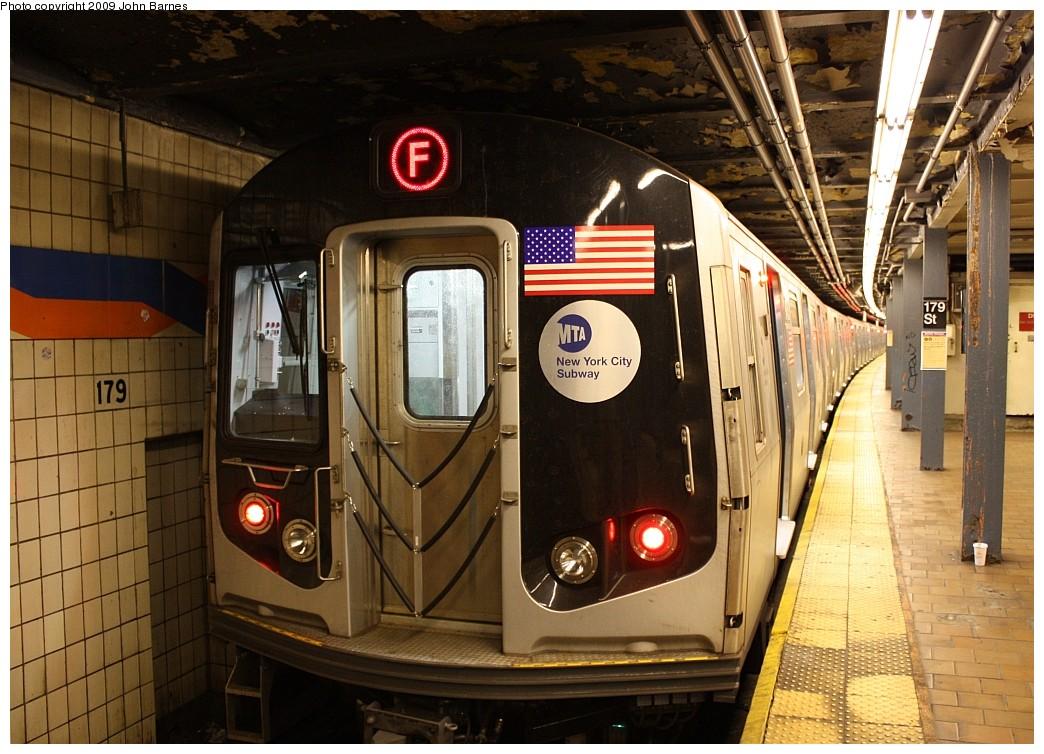 (217k, 1044x754)<br><b>Country:</b> United States<br><b>City:</b> New York<br><b>System:</b> New York City Transit<br><b>Line:</b> IND Queens Boulevard Line<br><b>Location:</b> 179th Street <br><b>Route:</b> F<br><b>Car:</b> R-160A (Option 1) (Alstom, 2008-2009, 5 car sets)  9453 <br><b>Photo by:</b> John Barnes<br><b>Date:</b> 7/19/2009<br><b>Viewed (this week/total):</b> 0 / 2113