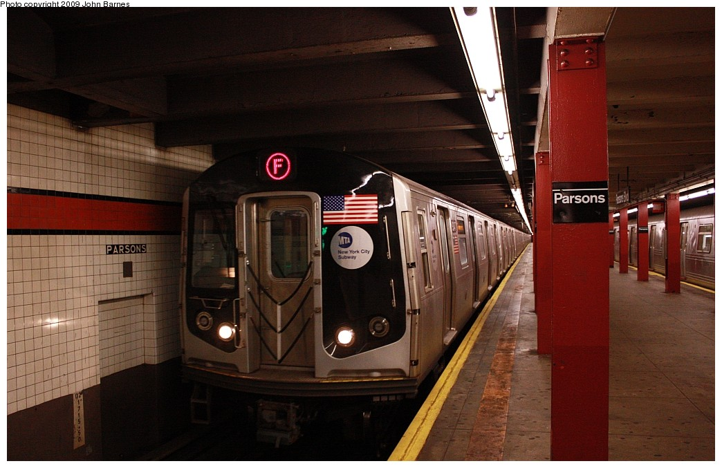 (175k, 1044x677)<br><b>Country:</b> United States<br><b>City:</b> New York<br><b>System:</b> New York City Transit<br><b>Line:</b> IND Queens Boulevard Line<br><b>Location:</b> Parsons Boulevard <br><b>Route:</b> F<br><b>Car:</b> R-160A (Option 1) (Alstom, 2008-2009, 5 car sets)  9347 <br><b>Photo by:</b> John Barnes<br><b>Date:</b> 7/26/2009<br><b>Viewed (this week/total):</b> 0 / 1951