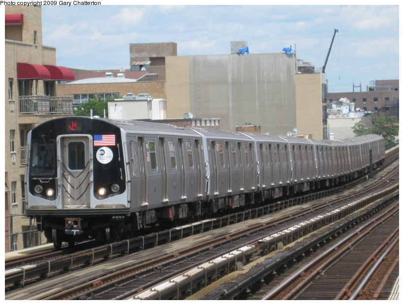 (145k, 820x620)<br><b>Country:</b> United States<br><b>City:</b> New York<br><b>System:</b> New York City Transit<br><b>Line:</b> BMT Astoria Line<br><b>Location:</b> Broadway <br><b>Route:</b> N<br><b>Car:</b> R-160B (Option 1) (Kawasaki, 2008-2009)  9108 <br><b>Photo by:</b> Gary Chatterton<br><b>Date:</b> 7/13/2009<br><b>Viewed (this week/total):</b> 1 / 1468