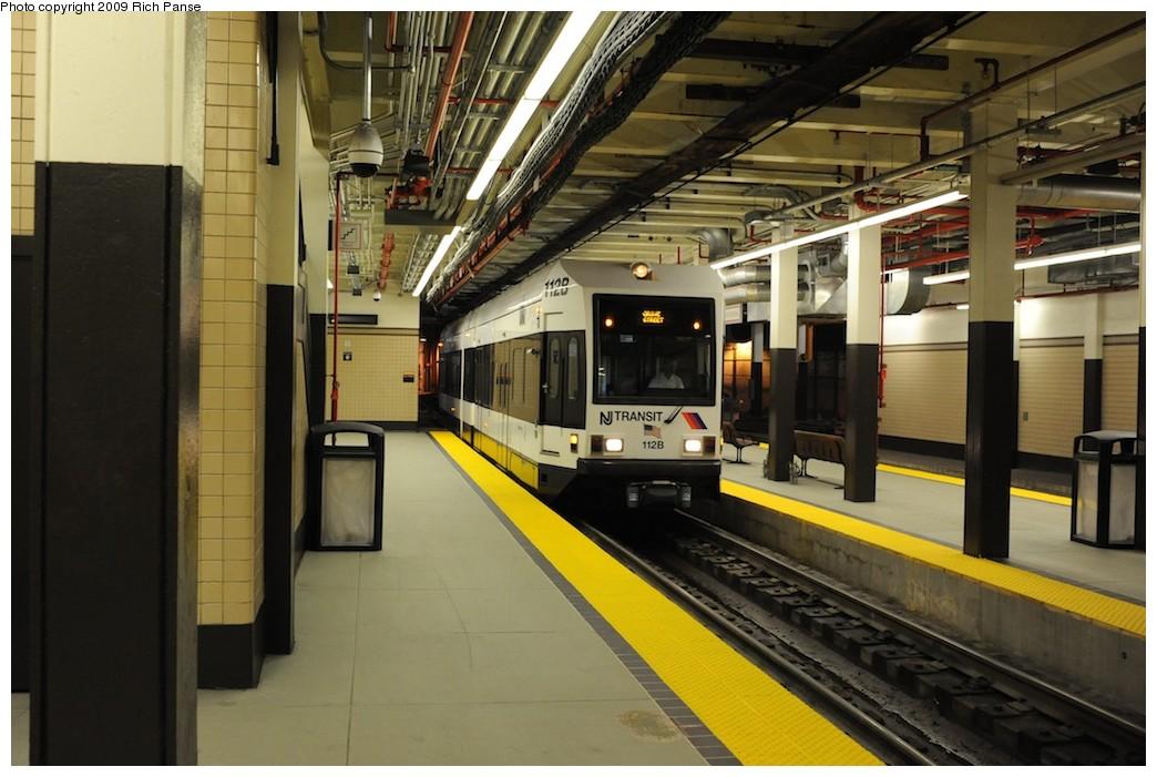 (179k, 1044x701)<br><b>Country:</b> United States<br><b>City:</b> Newark, NJ<br><b>System:</b> Newark City Subway<br><b>Location:</b> Penn Station <br><b>Car:</b> NJT Kinki-Sharyo LRV (Newark) 112 <br><b>Photo by:</b> Richard Panse<br><b>Date:</b> 8/3/2009<br><b>Viewed (this week/total):</b> 0 / 794