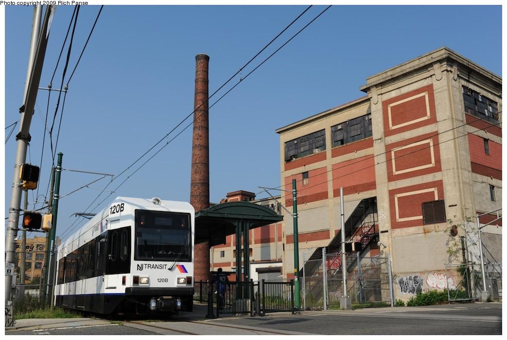 (182k, 1044x701)<br><b>Country:</b> United States<br><b>City:</b> Newark, NJ<br><b>System:</b> Newark City Subway<br><b>Location:</b> Orange Street <br><b>Car:</b> NJT Kinki-Sharyo LRV (Newark) 120 <br><b>Photo by:</b> Richard Panse<br><b>Date:</b> 8/3/2009<br><b>Viewed (this week/total):</b> 2 / 749