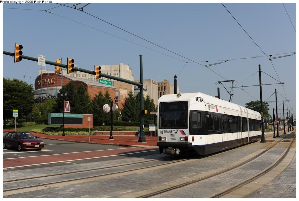 (168k, 1044x701)<br><b>Country:</b> United States<br><b>City:</b> Newark, NJ<br><b>System:</b> Newark City Subway<br><b>Location:</b> McCarter & Center <br><b>Car:</b> NJT Kinki-Sharyo LRV (Newark) 107 <br><b>Photo by:</b> Richard Panse<br><b>Date:</b> 8/3/2009<br><b>Viewed (this week/total):</b> 3 / 539