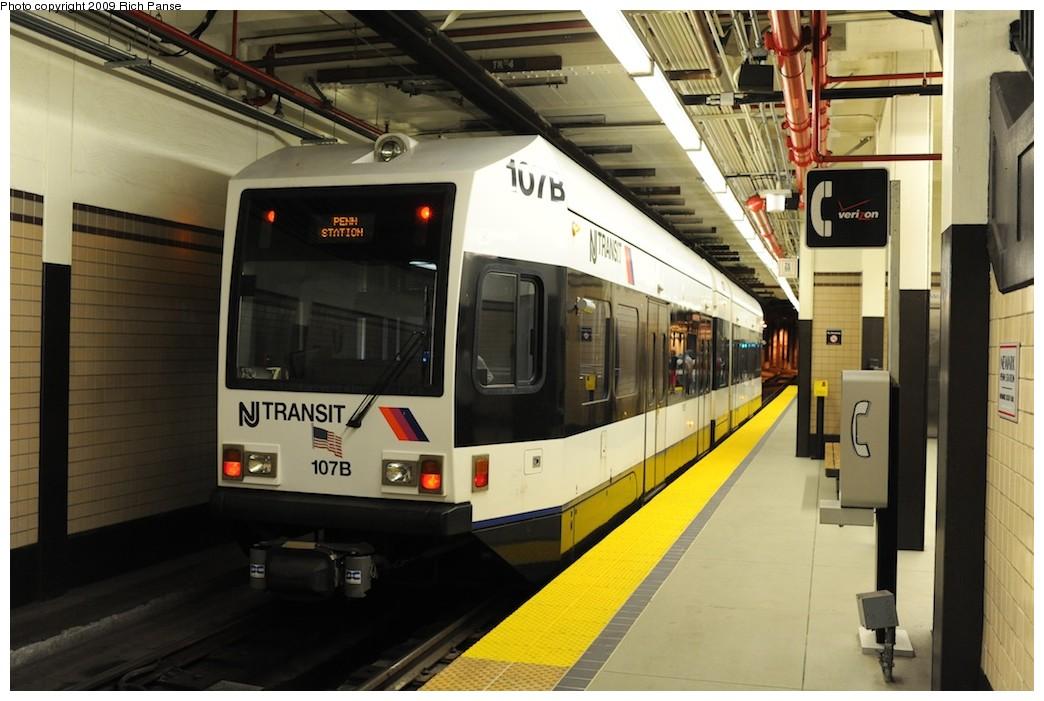 (173k, 1044x701)<br><b>Country:</b> United States<br><b>City:</b> Newark, NJ<br><b>System:</b> Newark City Subway<br><b>Location:</b> Penn Station <br><b>Car:</b> NJT Kinki-Sharyo LRV (Newark) 107 <br><b>Photo by:</b> Richard Panse<br><b>Date:</b> 8/3/2009<br><b>Viewed (this week/total):</b> 2 / 560