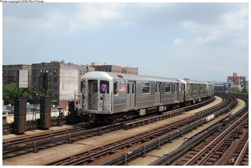 (179k, 1044x701)<br><b>Country:</b> United States<br><b>City:</b> New York<br><b>System:</b> New York City Transit<br><b>Line:</b> IRT Flushing Line<br><b>Location:</b> 46th Street/Bliss Street <br><b>Route:</b> 7<br><b>Car:</b> R-62A (Bombardier, 1984-1987)  1790 <br><b>Photo by:</b> Richard Panse<br><b>Date:</b> 8/3/2009<br><b>Viewed (this week/total):</b> 1 / 1075