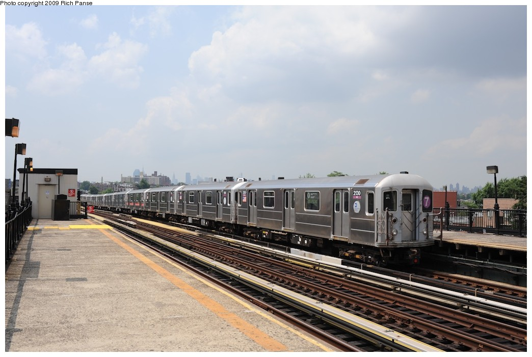 (165k, 1044x701)<br><b>Country:</b> United States<br><b>City:</b> New York<br><b>System:</b> New York City Transit<br><b>Line:</b> IRT Flushing Line<br><b>Location:</b> 69th Street/Fisk Avenue <br><b>Route:</b> 7<br><b>Car:</b> R-62A (Bombardier, 1984-1987)  2130 <br><b>Photo by:</b> Richard Panse<br><b>Date:</b> 8/3/2009<br><b>Viewed (this week/total):</b> 2 / 1009