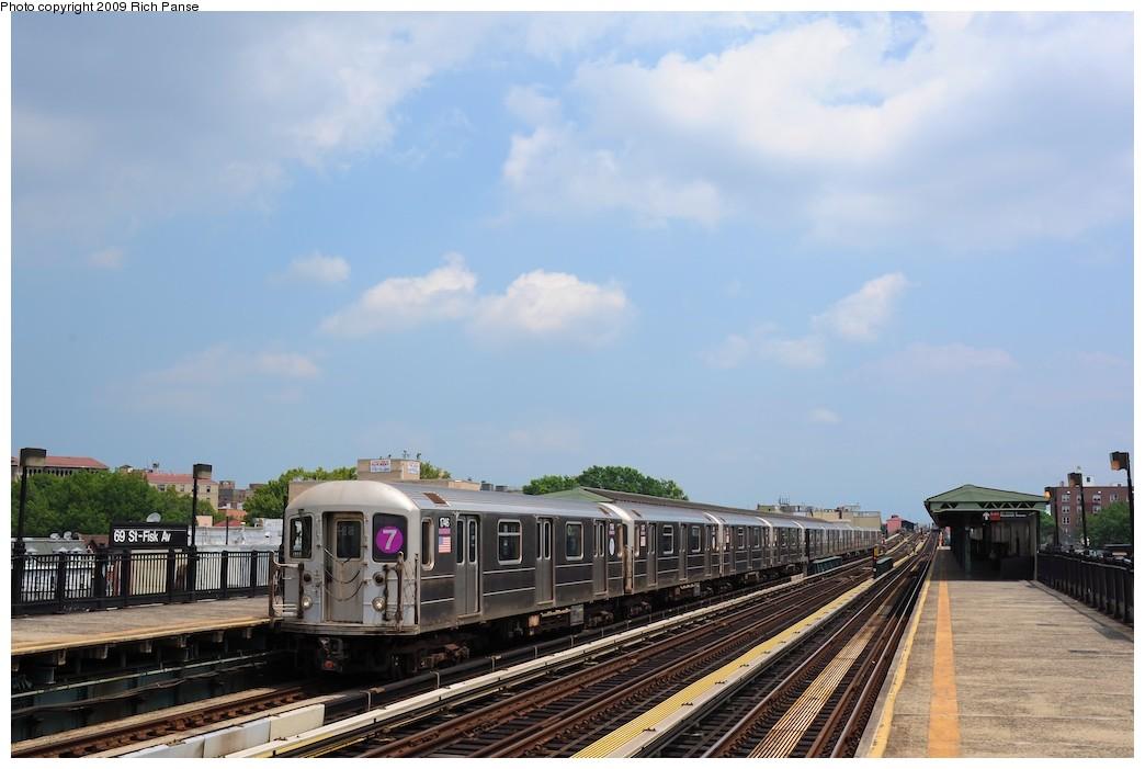 (149k, 1044x701)<br><b>Country:</b> United States<br><b>City:</b> New York<br><b>System:</b> New York City Transit<br><b>Line:</b> IRT Flushing Line<br><b>Location:</b> 69th Street/Fisk Avenue <br><b>Route:</b> 7<br><b>Car:</b> R-62A (Bombardier, 1984-1987)  1746 <br><b>Photo by:</b> Richard Panse<br><b>Date:</b> 8/3/2009<br><b>Viewed (this week/total):</b> 1 / 940
