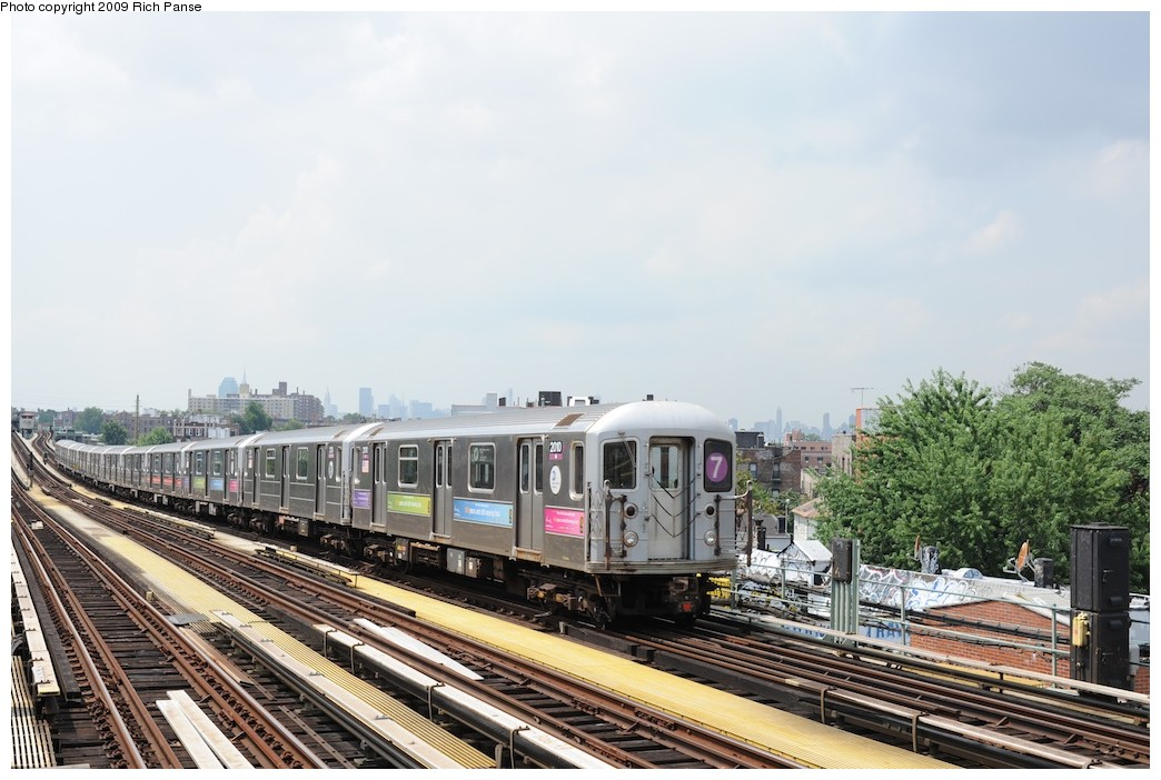 (185k, 1044x702)<br><b>Country:</b> United States<br><b>City:</b> New York<br><b>System:</b> New York City Transit<br><b>Line:</b> IRT Flushing Line<br><b>Location:</b> 69th Street/Fisk Avenue <br><b>Route:</b> 7<br><b>Car:</b> R-62A (Bombardier, 1984-1987)  2010 <br><b>Photo by:</b> Richard Panse<br><b>Date:</b> 8/3/2009<br><b>Viewed (this week/total):</b> 2 / 1187