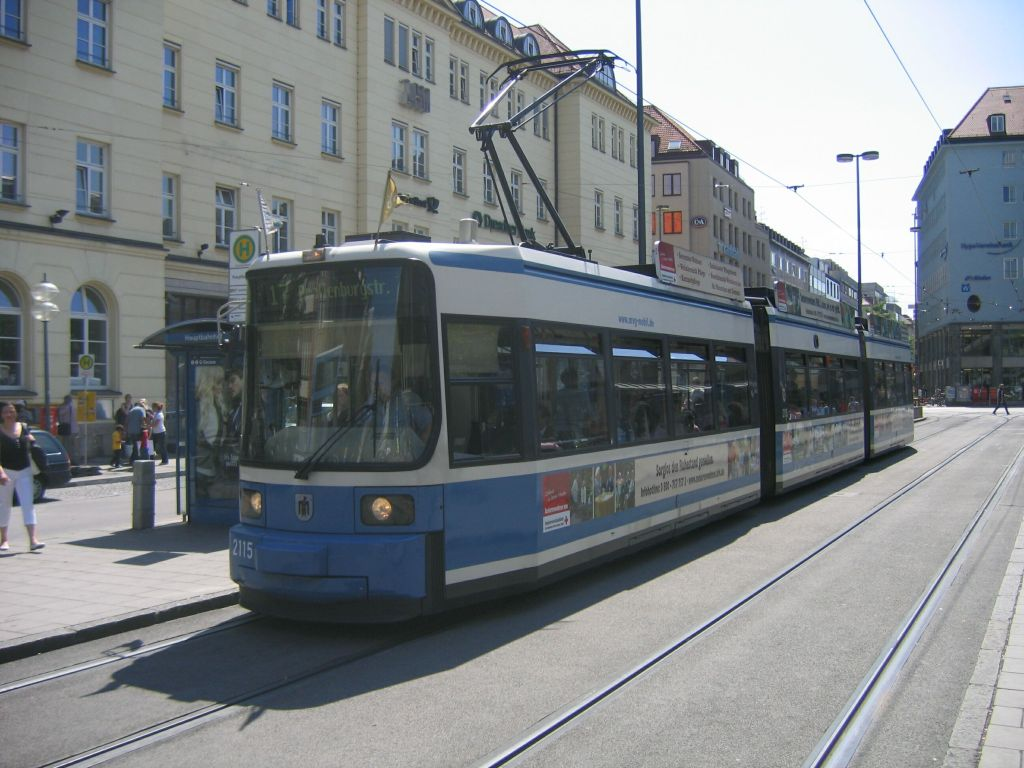 (119k, 1024x768)<br><b>Country:</b> Germany<br><b>City:</b> Munich<br><b>System:</b> MVG (Munchener Verkehrsgesellschaft)<br><b>Location:</b> Bahnhofplatz <br><b>Route:</b> 17<br><b>Car:</b> Siemens GT6N R2.2  2115  <br><b>Photo by:</b> Jos Straathof<br><b>Date:</b> 8/14/2008<br><b>Viewed (this week/total):</b> 1 / 420