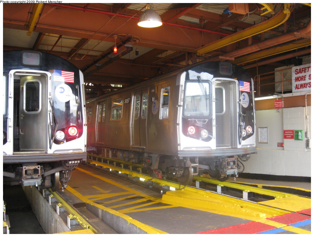 (234k, 1044x788)<br><b>Country:</b> United States<br><b>City:</b> New York<br><b>System:</b> New York City Transit<br><b>Location:</b> Coney Island Shop/Maint. & Inspection Shop<br><b>Car:</b> R-160B (Option 1) (Kawasaki, 2008-2009)  9097 <br><b>Photo by:</b> Robert Mencher<br><b>Date:</b> 8/19/2009<br><b>Viewed (this week/total):</b> 2 / 1079