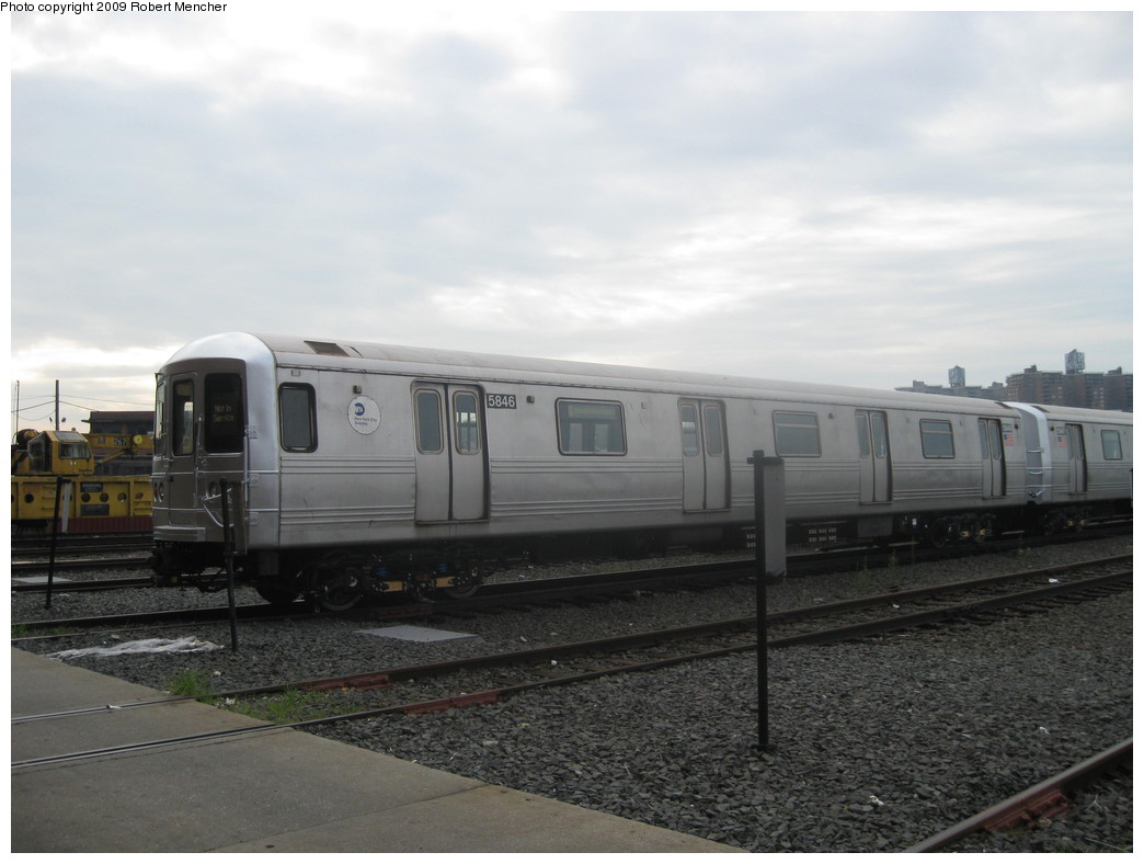 (162k, 1044x788)<br><b>Country:</b> United States<br><b>City:</b> New York<br><b>System:</b> New York City Transit<br><b>Location:</b> Coney Island Yard<br><b>Car:</b> R-46 (Pullman-Standard, 1974-75) 5846 <br><b>Photo by:</b> Robert Mencher<br><b>Date:</b> 8/19/2009<br><b>Viewed (this week/total):</b> 0 / 962