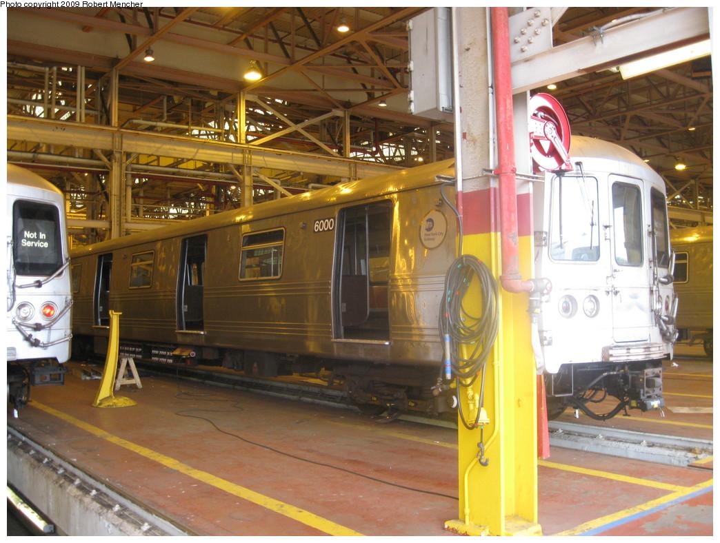 (250k, 1044x788)<br><b>Country:</b> United States<br><b>City:</b> New York<br><b>System:</b> New York City Transit<br><b>Location:</b> Coney Island Shop/Overhaul & Repair Shop<br><b>Car:</b> R-46 (Pullman-Standard, 1974-75) 6000 <br><b>Photo by:</b> Robert Mencher<br><b>Date:</b> 8/19/2009<br><b>Viewed (this week/total):</b> 0 / 837