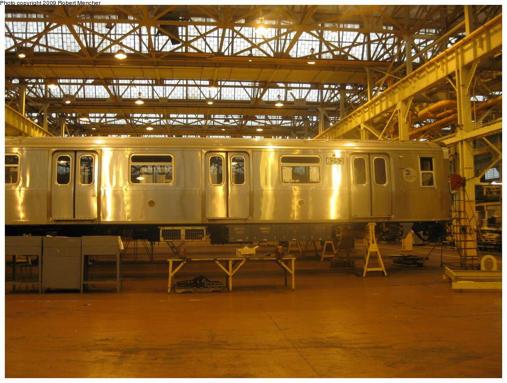 (275k, 1044x788)<br><b>Country:</b> United States<br><b>City:</b> New York<br><b>System:</b> New York City Transit<br><b>Location:</b> Coney Island Shop/Overhaul & Repair Shop<br><b>Car:</b> R-143 (Kawasaki, 2001-2002) 8252 <br><b>Photo by:</b> Robert Mencher<br><b>Date:</b> 8/19/2009<br><b>Viewed (this week/total):</b> 0 / 788