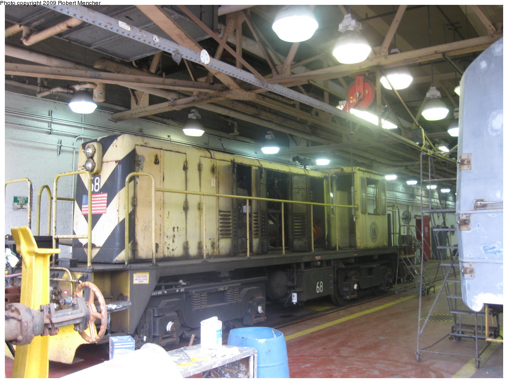 (227k, 1044x788)<br><b>Country:</b> United States<br><b>City:</b> New York<br><b>System:</b> New York City Transit<br><b>Location:</b> Coney Island Shop/Overhaul & Repair Shop<br><b>Car:</b> R-47 Locomotive  68 <br><b>Photo by:</b> Robert Mencher<br><b>Date:</b> 8/19/2009<br><b>Viewed (this week/total):</b> 1 / 711