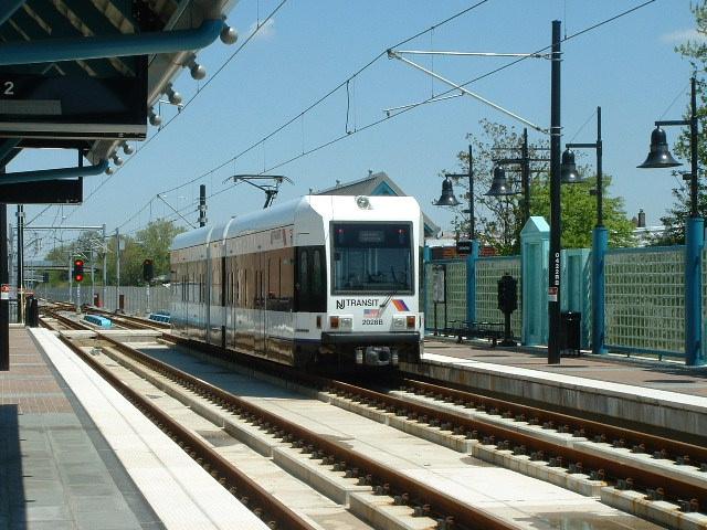 (156k, 640x480)<br><b>Country:</b> United States<br><b>City:</b> Bayonne, NJ<br><b>System:</b> Hudson Bergen Light Rail<br><b>Location:</b> East 22nd Street <br><b>Car:</b> NJT-HBLR LRV (Kinki-Sharyo, 1998-99)  2028 <br><b>Photo by:</b> Brian J. Cudahy<br><b>Date:</b> 5/4/2004<br><b>Viewed (this week/total):</b> 0 / 486