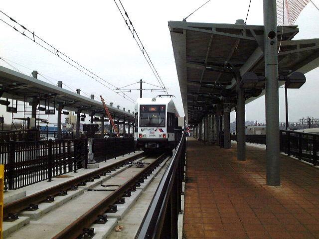 (78k, 640x480)<br><b>Country:</b> United States<br><b>City:</b> Hoboken, NJ<br><b>System:</b> Hudson Bergen Light Rail<br><b>Location:</b> Hoboken <br><b>Car:</b> NJT-HBLR LRV (Kinki-Sharyo, 1998-99)   <br><b>Photo by:</b> Brian J. Cudahy<br><b>Date:</b> 1/26/2003<br><b>Viewed (this week/total):</b> 1 / 344