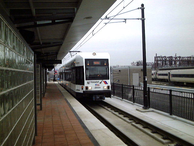 (78k, 640x480)<br><b>Country:</b> United States<br><b>City:</b> Hoboken, NJ<br><b>System:</b> Hudson Bergen Light Rail<br><b>Location:</b> Hoboken <br><b>Car:</b> NJT-HBLR LRV (Kinki-Sharyo, 1998-99)   <br><b>Photo by:</b> Brian J. Cudahy<br><b>Date:</b> 1/26/2003<br><b>Viewed (this week/total):</b> 0 / 455