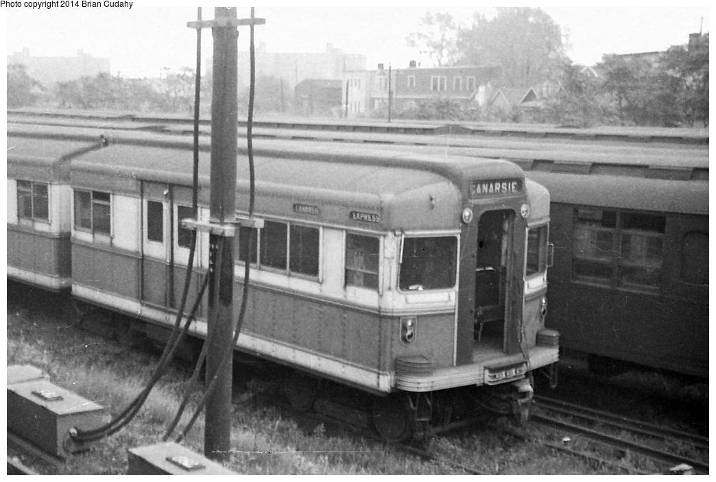 (266k, 1044x703)<br><b>Country:</b> United States<br><b>City:</b> New York<br><b>System:</b> New York City Transit<br><b>Location:</b> Rockaway Parkway (Canarsie) Yard<br><b>Car:</b> BMT Bluebird  <br><b>Photo by:</b> Brian J. Cudahy<br><b>Date:</b> 1955<br><b>Viewed (this week/total):</b> 0 / 1156